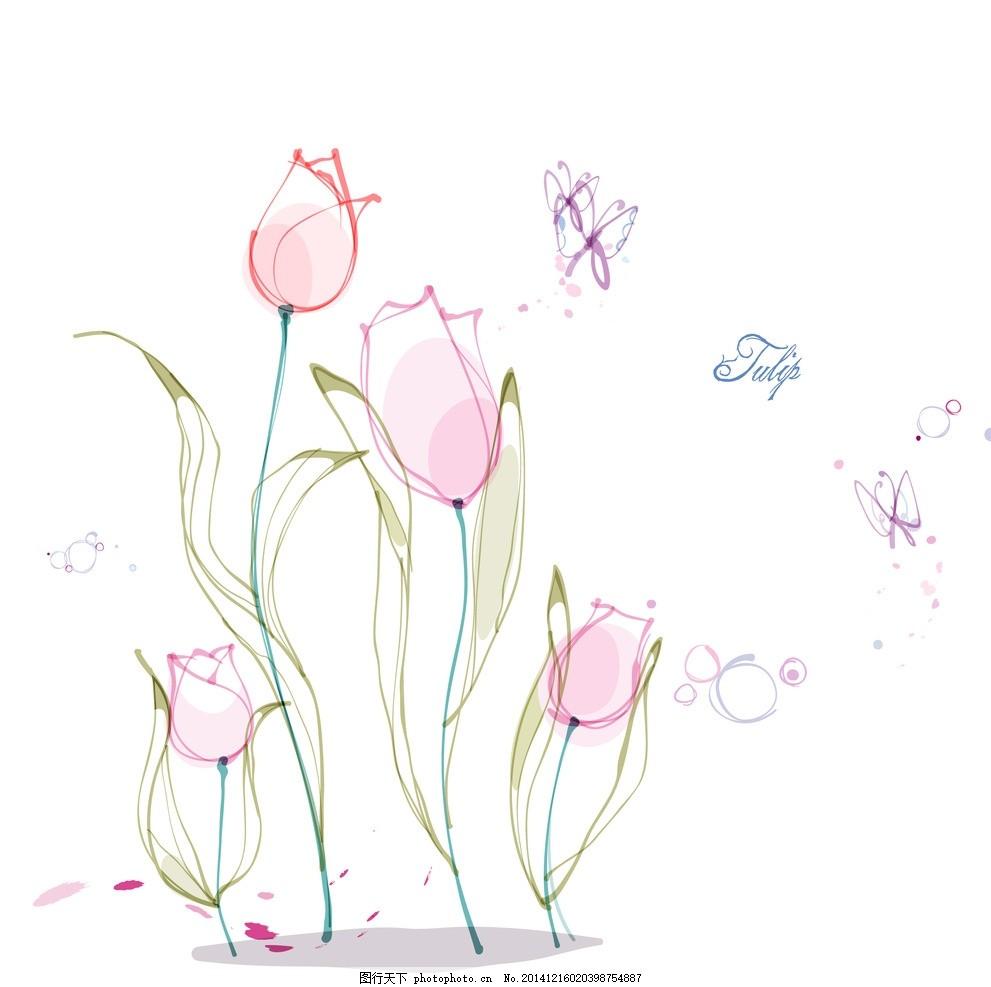 手绘矢量郁金香线条花朵 手绘郁金香 手绘花朵 时尚花纹花朵 花纹背景