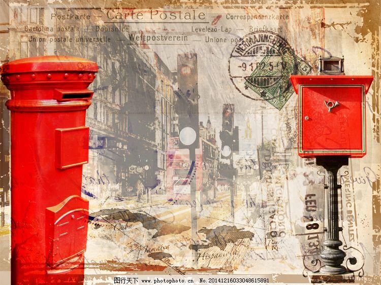 英伦风手绘街景图片