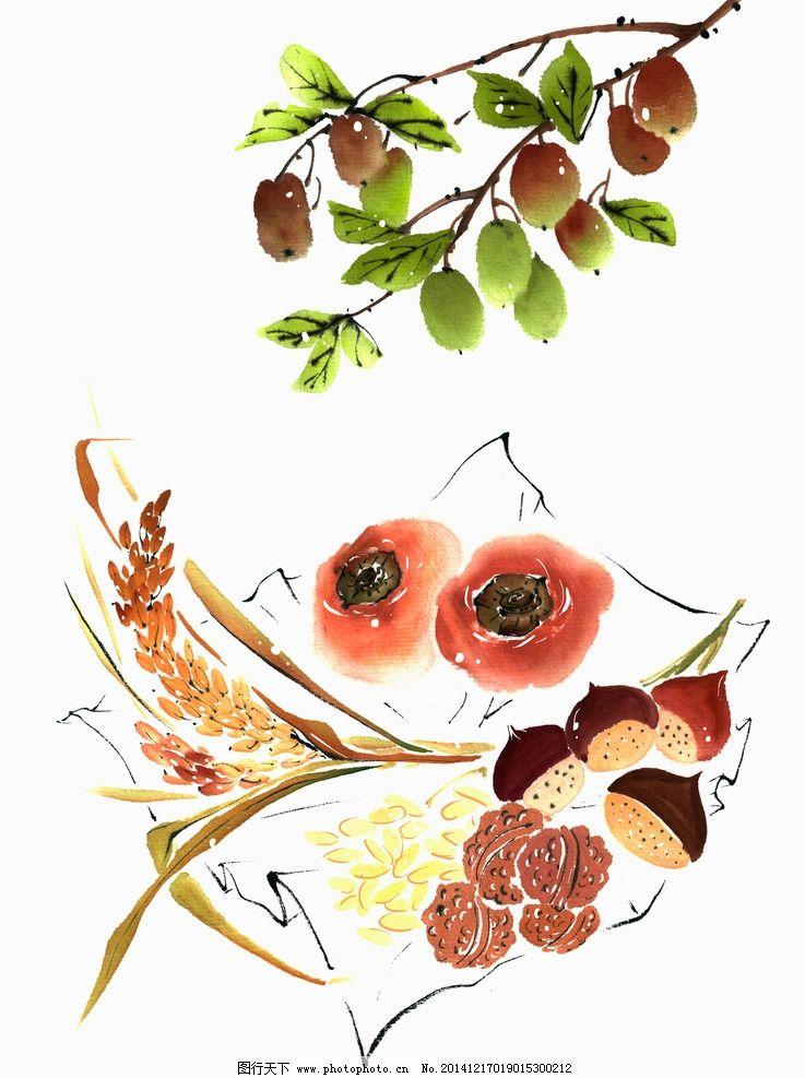 蔬菜 水彩 插画 香菇 柿子 水稻 麦穗 叶子 设计 文化艺术 绘画书法图片