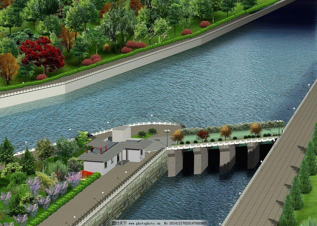 河流 马路 路灯 鲜花 草地 树木 房屋 建筑物 设计 环境设计 景观设计