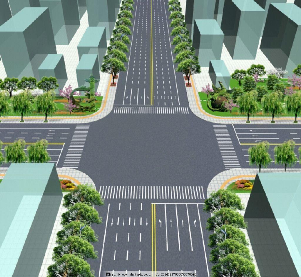道路绿化 十字路口 鸟瞰 景观 规划 设计 psd分层素材 psd分层素材 7