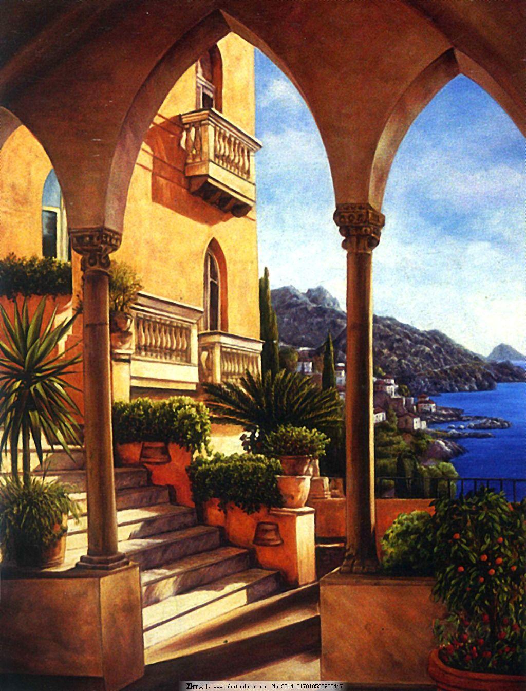 海邊別墅油畫風景免費下載