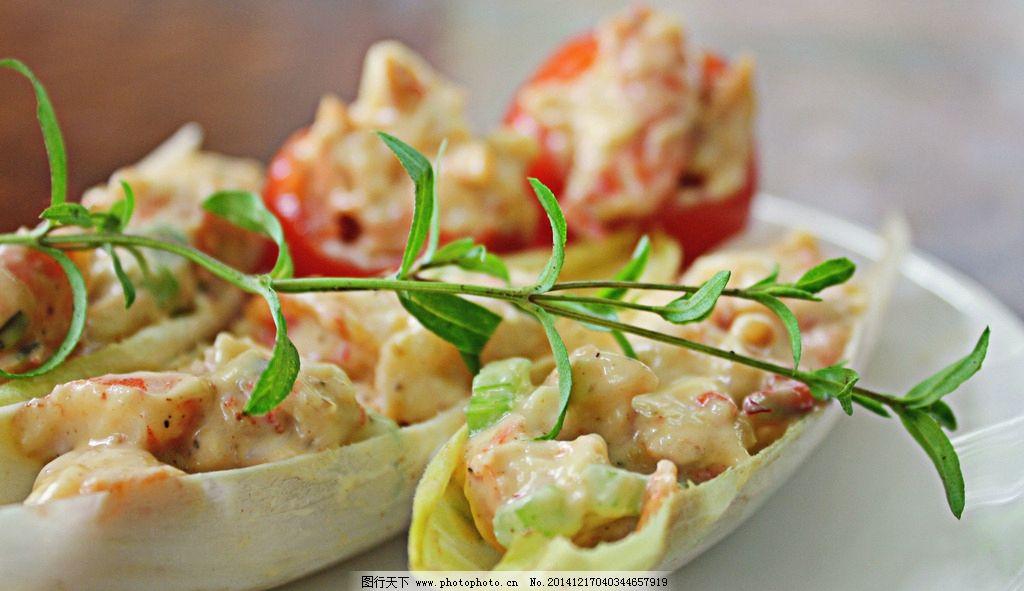 西式美食 西餐 前菜 美食 沙拉 沙律 蔬菜沙拉 青菜 蔬菜 大虾沙拉图片