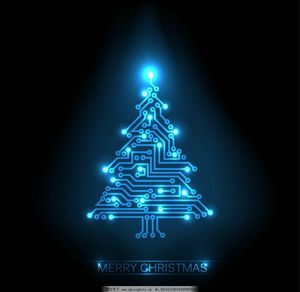 圣诞树 圣诞节 新年背景 电路板 科技 圣诞装饰素材 2015年新年 羊年