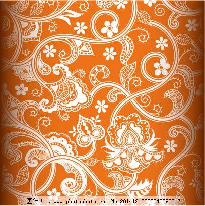 欧式花纹花边背景图免费下载 橙色背景 复古花边 古典花纹 花藤 小花