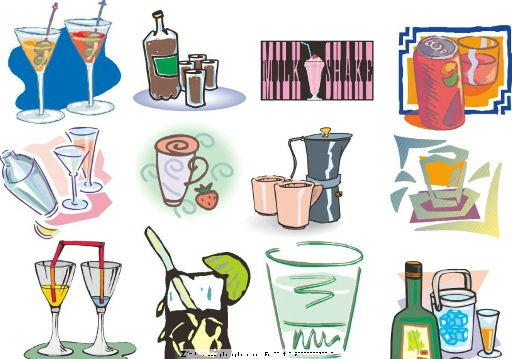 物品 卡通物品 矢量物品 杯子 玻璃杯 酒杯 时尚杯子 易拉罐 饮料瓶