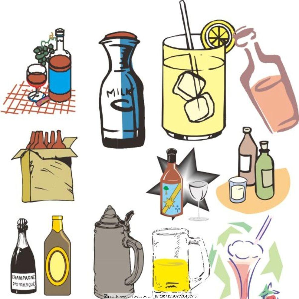 物品 瓶子 杯子 热水壶 酒 瓶瓶罐罐 酒瓶 卡通物品 矢量物品 卡通