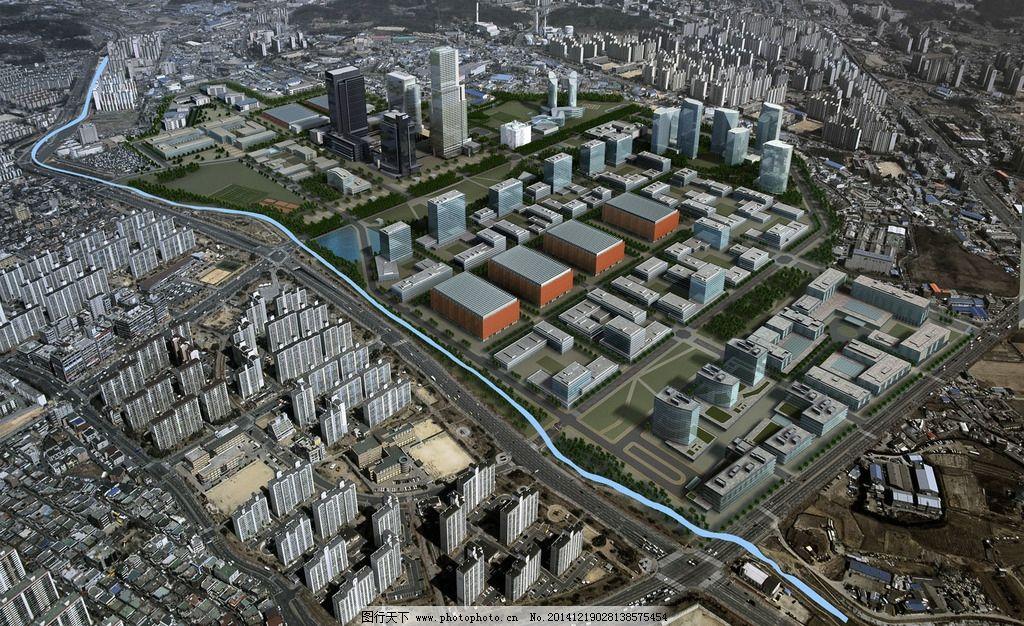 城市景观效果图设计 人物 汽车 马路 河流 草地 树木 房屋 建筑物