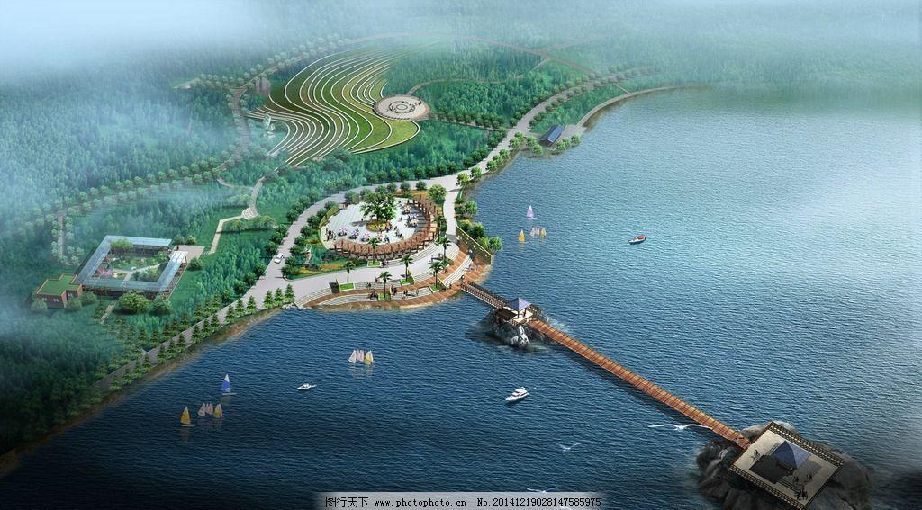 海边景观设计鸟瞰图图片,大海 帆船 人物 飞鸟 汽车
