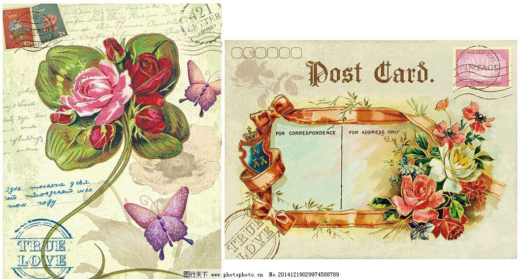 欧式复古明信片图片
