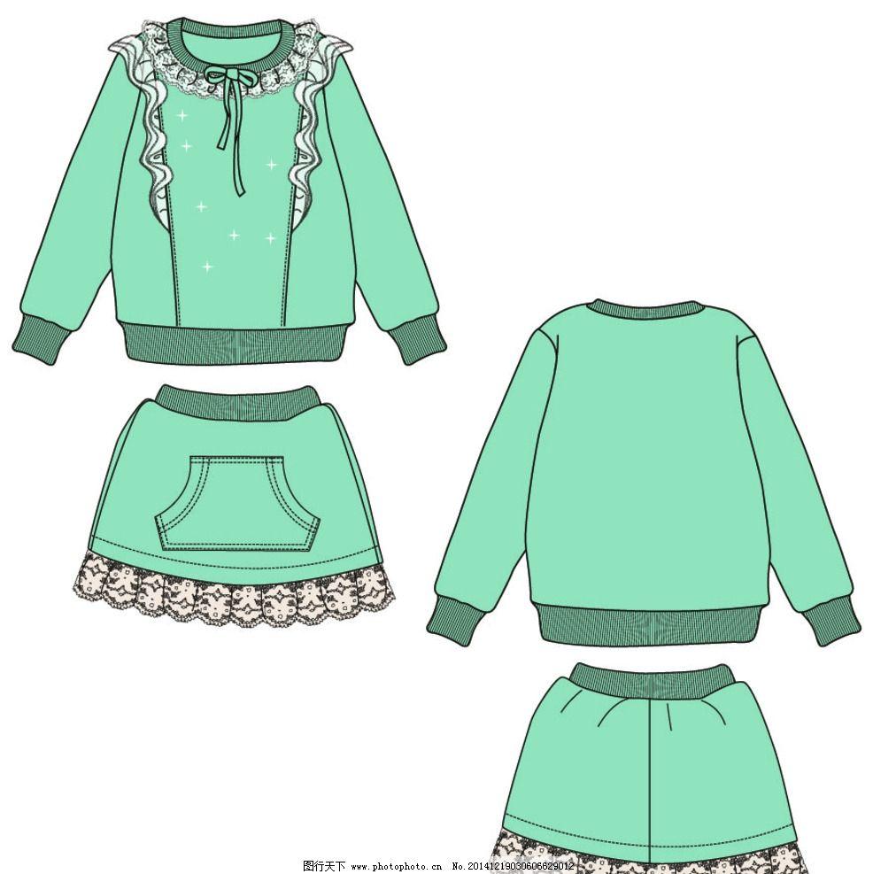 服装 童装 款式 雷丝 套装图片图片