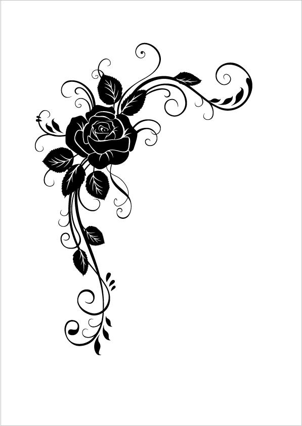 花纹花边 花纹花边免费下载 花藤 玫瑰花 矢量图