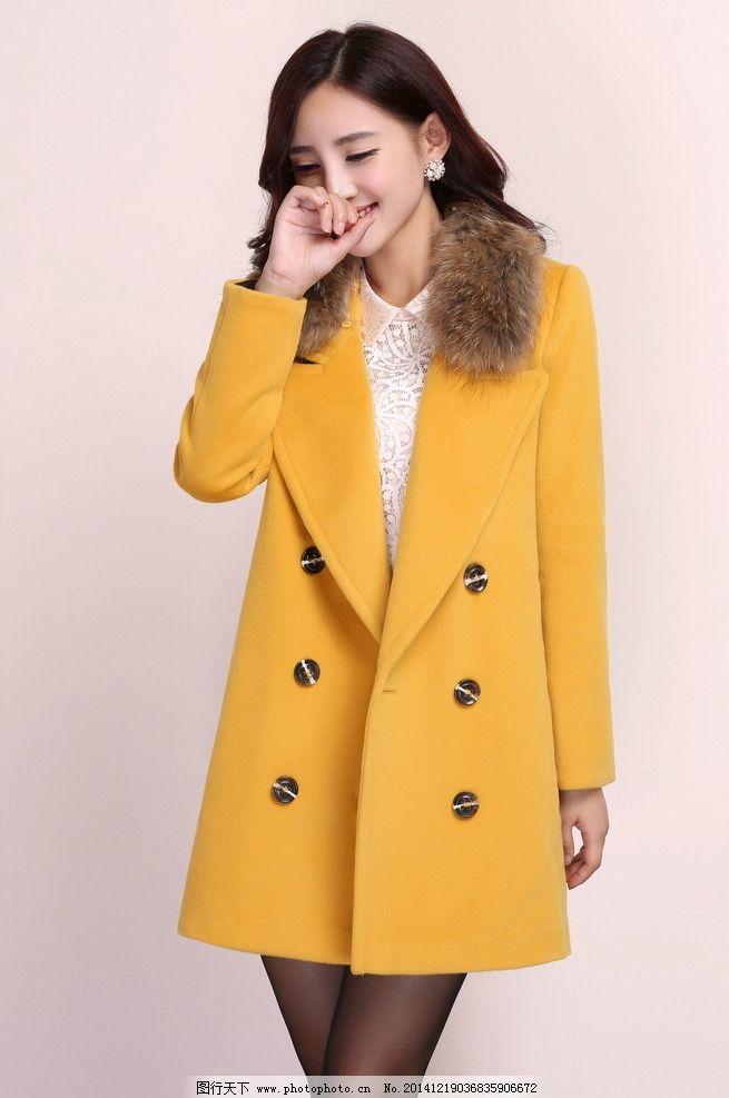 黄色冬装美女图片