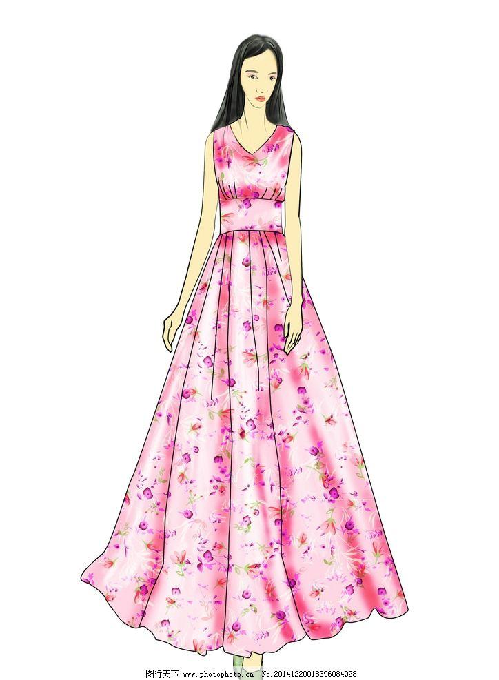 碎花连衣裙 服装设计 裙子 动漫动画
