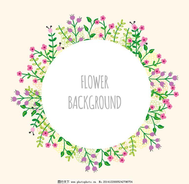 卡通花卉圓環背景