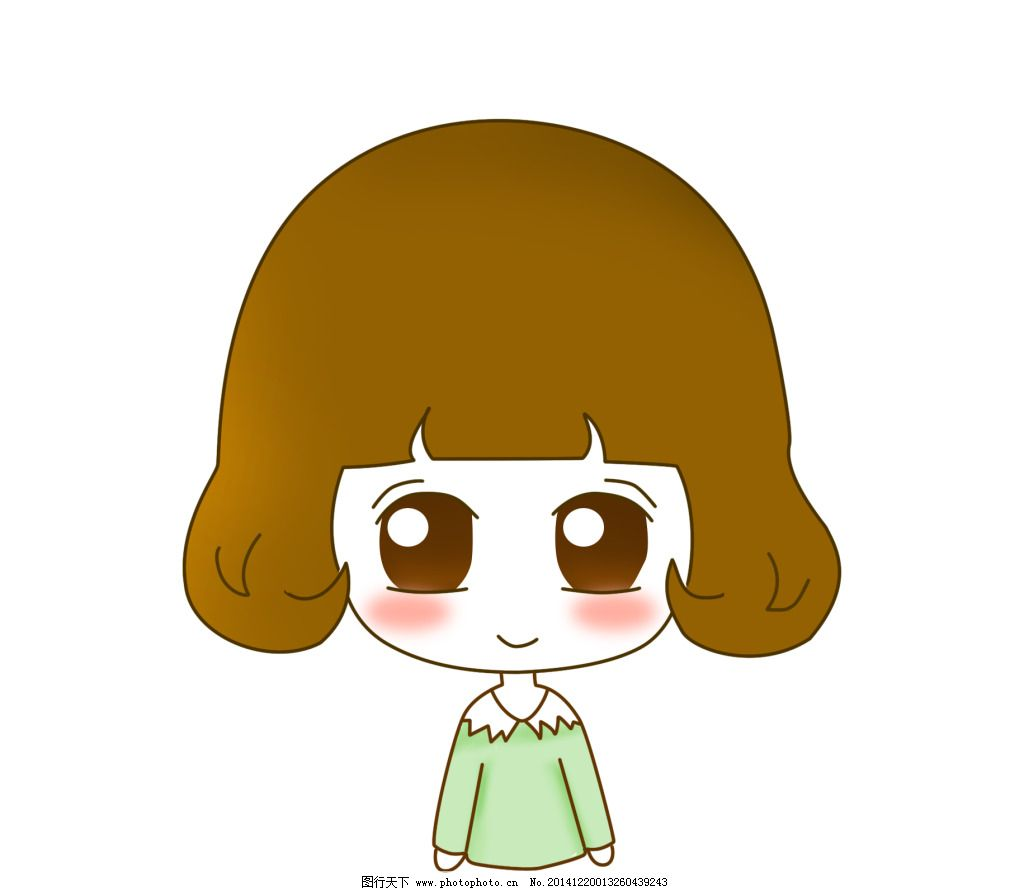 儿童 可爱女孩 小朋友 动画 儿童 黄头发 绿衣服 可爱女孩 大眼睛 小