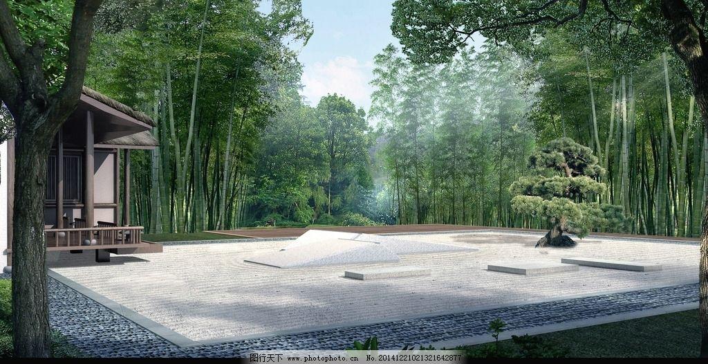 3d效果图 人 树 树林 茅草屋 天空 小道        设计 3d设计 室外模型