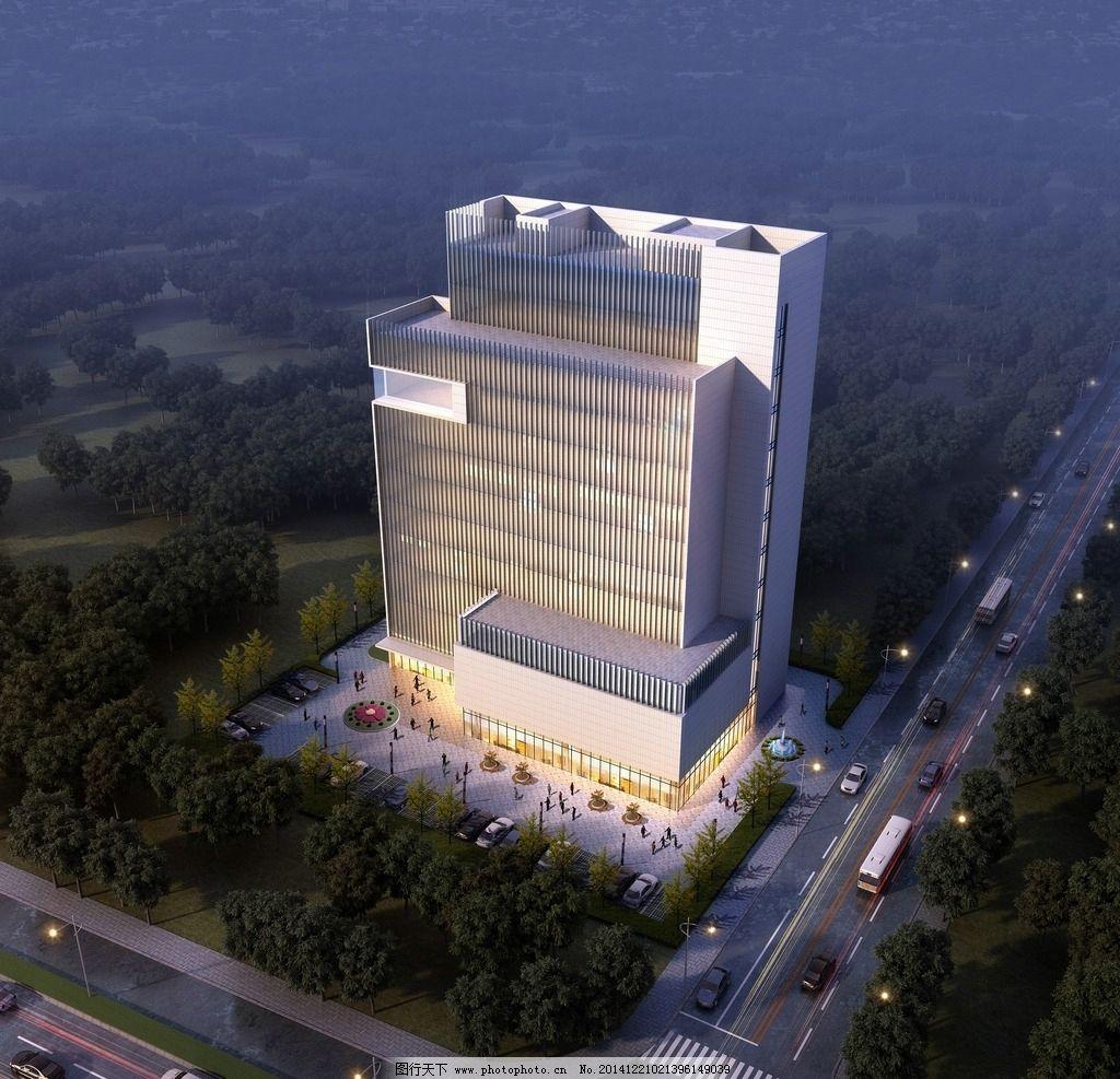 办公楼鸟瞰 3d效果图 人 树 车 天空 灯光 行道树 高层        设计