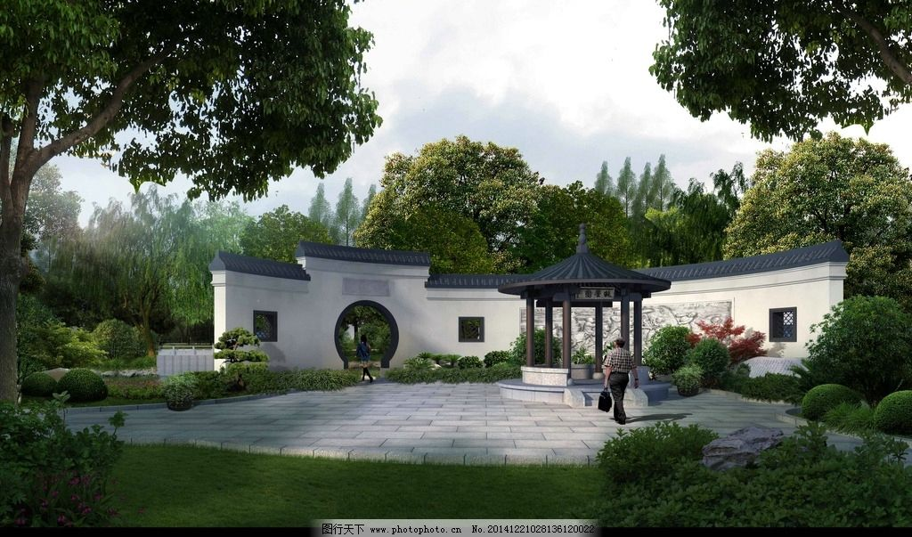 木亭 景观亭 中式风格 psd 风景区 居住区 森林公园 效果图人行道