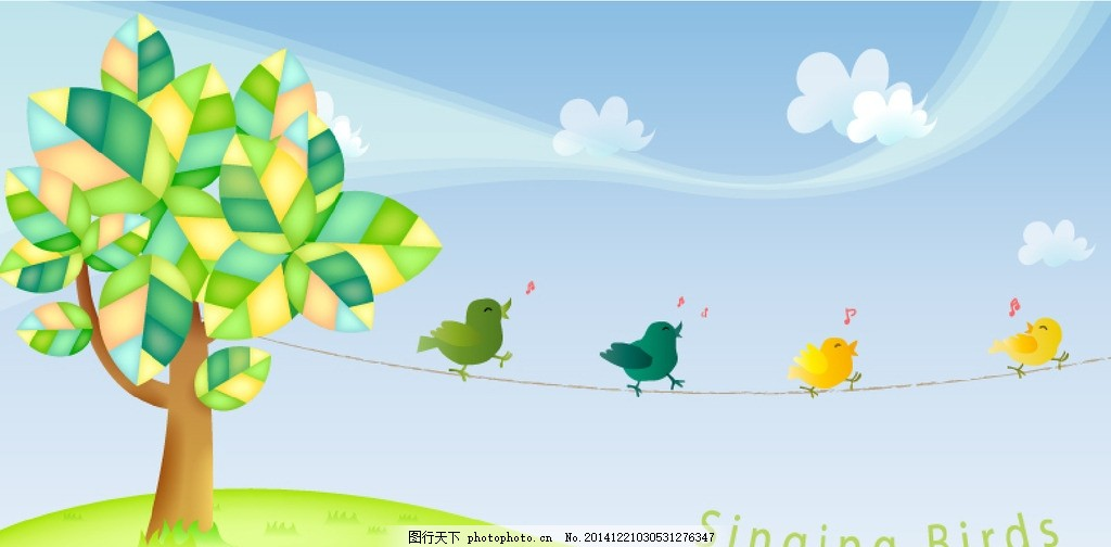 卡通春季树木 歌唱的小鸟 春季小鸟插画 云朵树木背景 儿童简笔画
