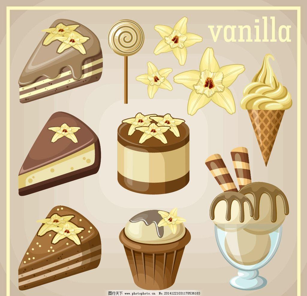 蛋糕 面包 手绘 美食 冰淇淋 糖果 奶油 早餐 营养 西餐美食