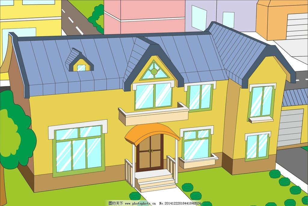 黄色 矢量卡通房子 绿色 手绘 卡通场景 设计 动漫动画 风景漫画 cdr