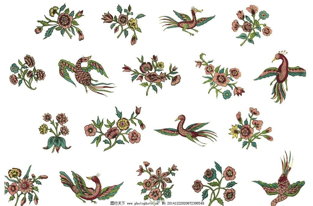 花鸟手绘 刺绣 工笔 叶子 凤凰 图案 复古 民族 花草 花纹