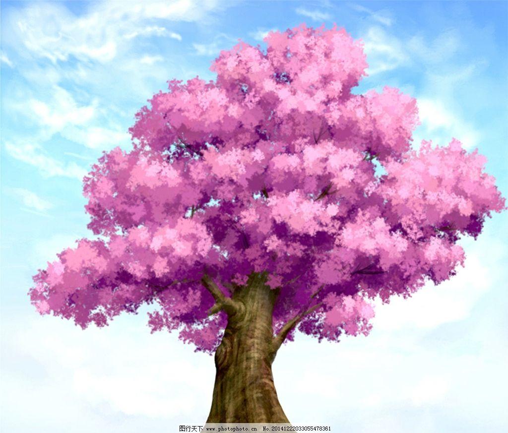 樱花树 手绘 原画 大树 分层