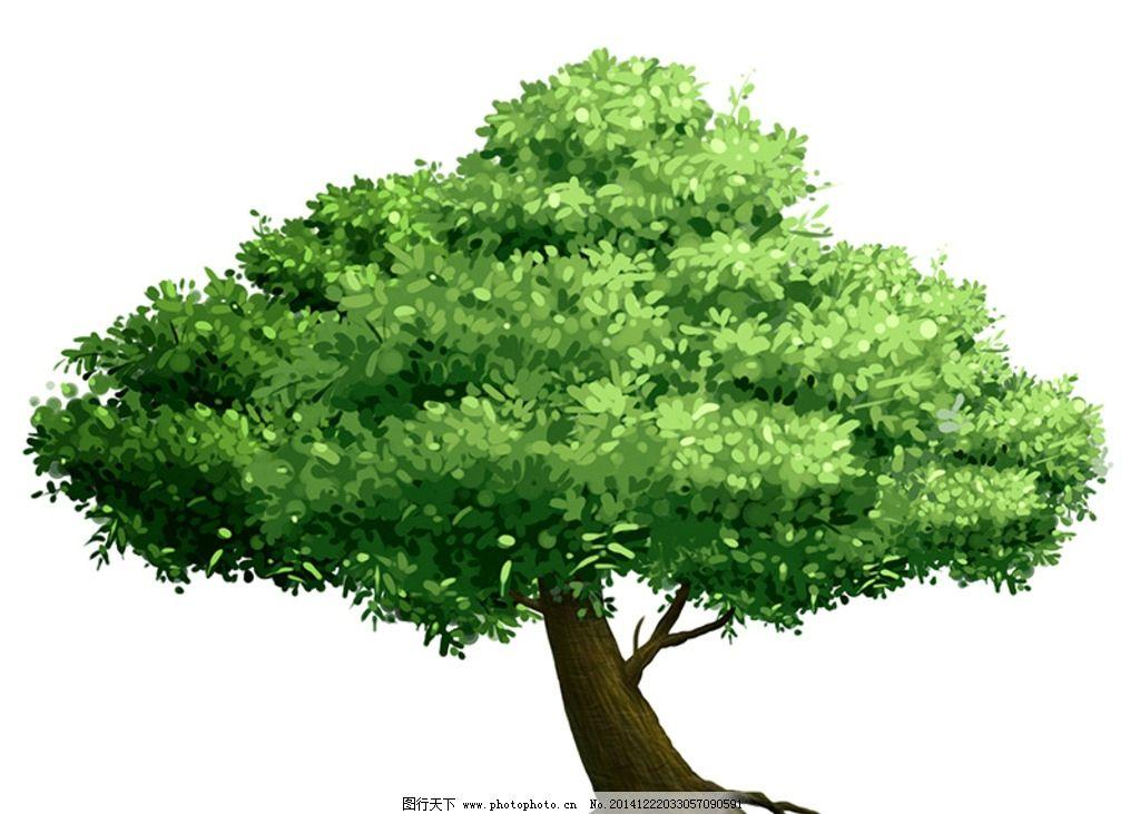 手绘绿色大树图片