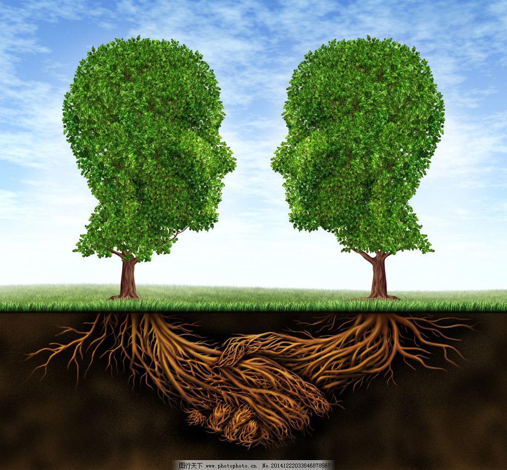 大脑抽象树图片免费下载 白云 草地 抽象树 大脑 蓝天 树 树根 图片