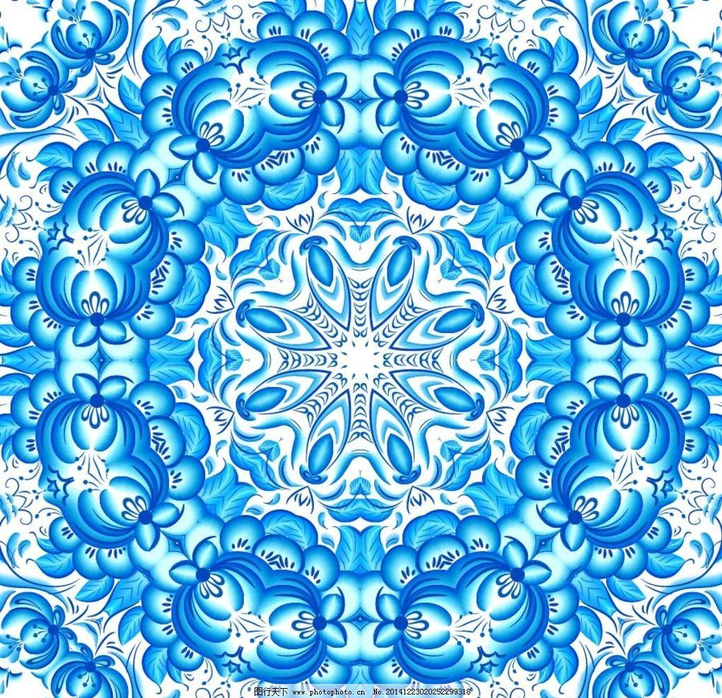 蓝色花纹背景 欧式花纹 装饰 圆形 民族花纹 卡片底纹 古典花纹图片