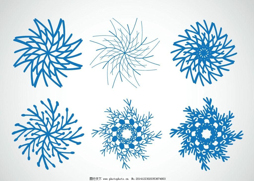 手绘 冬季 冬天 蓝色雪花 矢量 底纹背景 设计 eps  设计 底纹边框 花