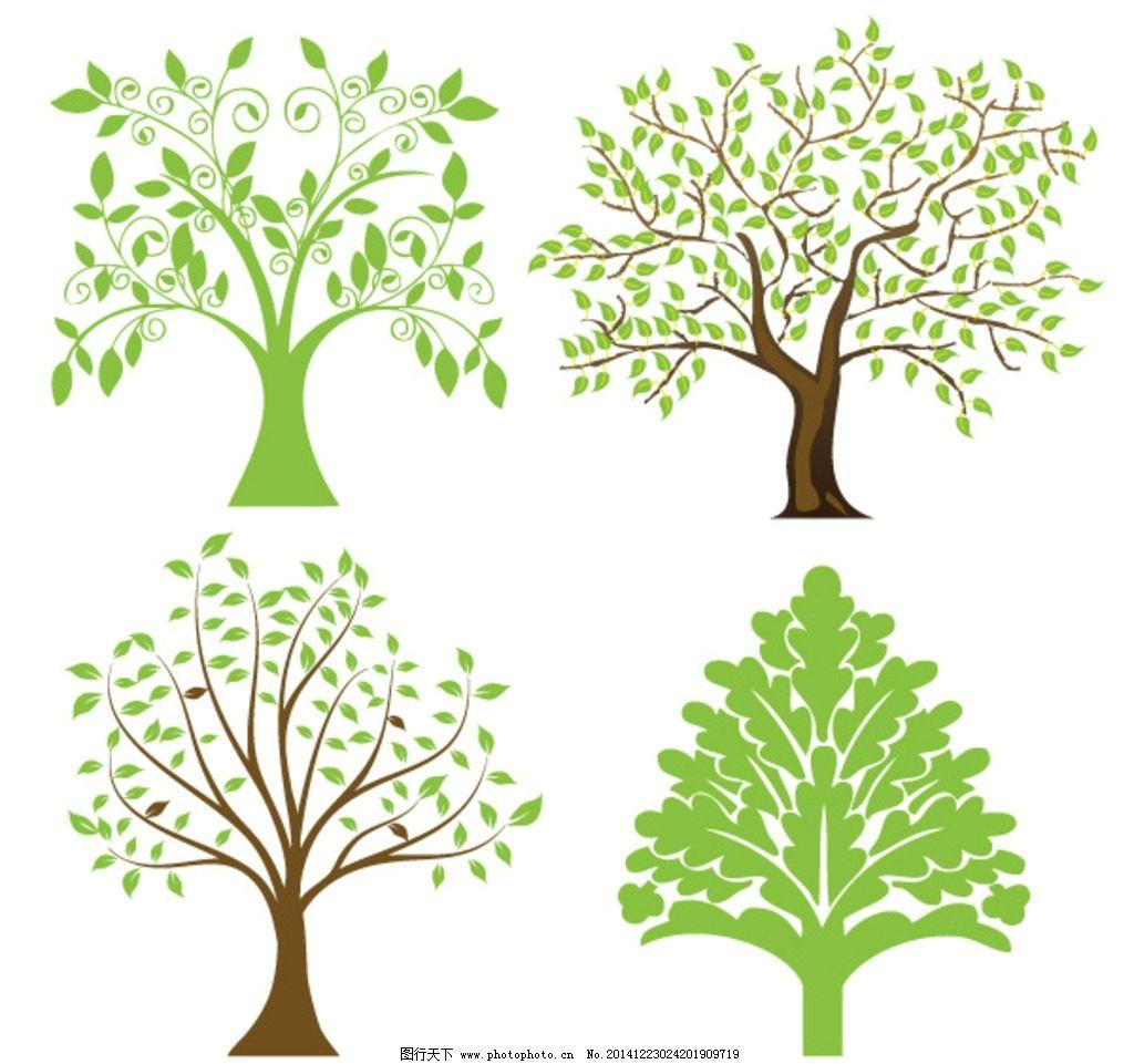 绿色 树 装饰树 矢量树 卡通树 剪贴树 设计 自然景观 建筑园林 ai