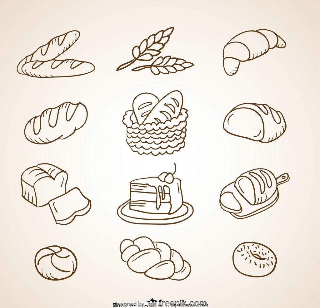 线描食物图片