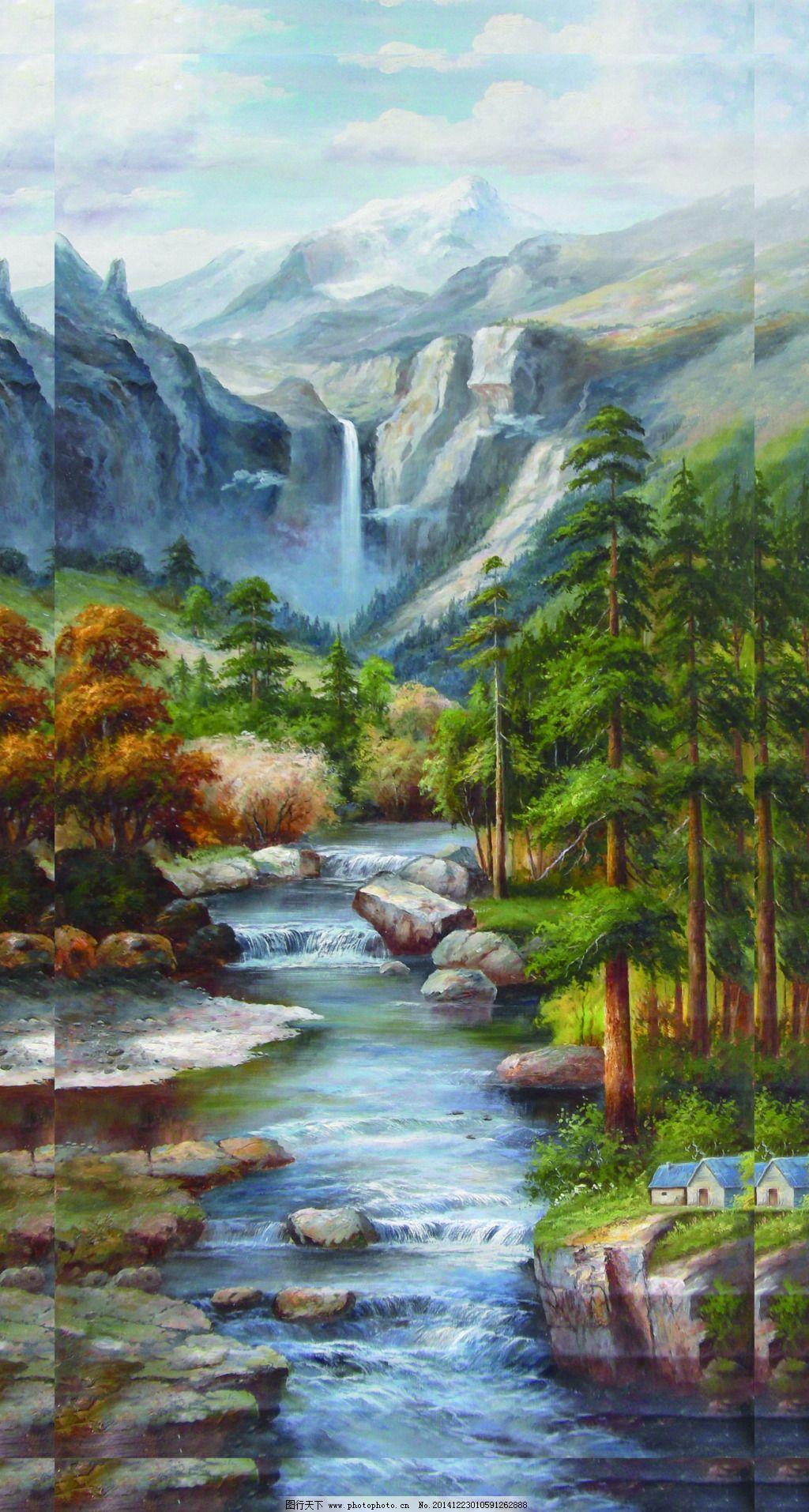 中国山水风景油画_山水风景油画大全大图图片