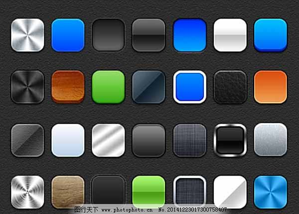 正方形按钮ui样式_图标按钮_ui界面设计_图行天下图库