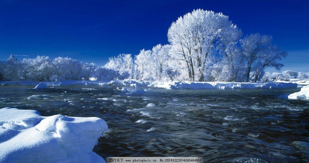摄影 风景摄影 雪山 寒冷 寒冰 冰晶 冰河 冰冻的河 冰冻的树木 摄影