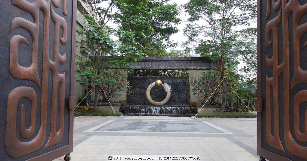 中式景观 住宅入口 水景 中式水景雕塑 大门 鸡蛋花 中式景墙 水景墙图片