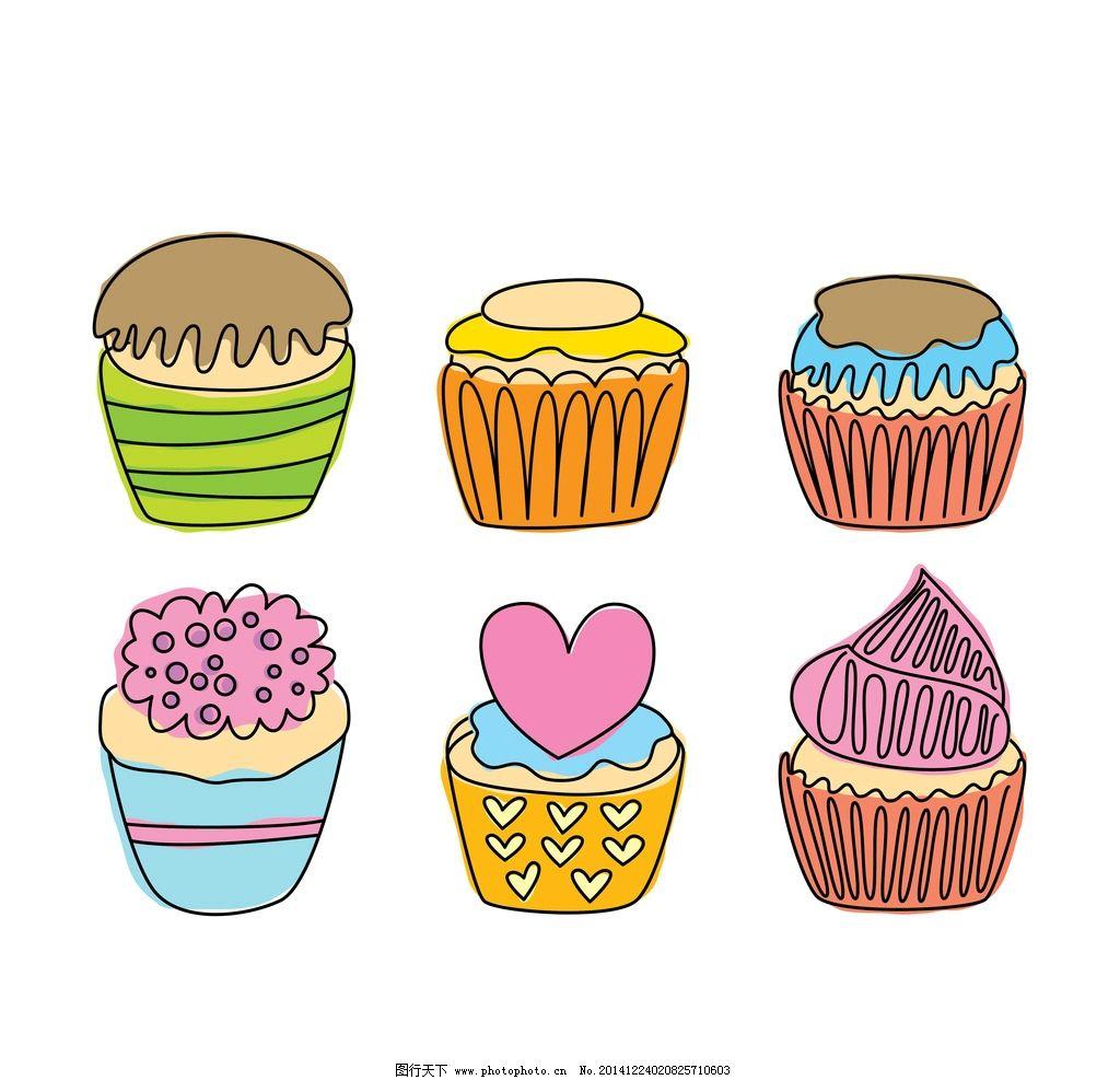 樱桃 西点 点心 甜品 下午茶 芝士 奶酪 蜡烛 杯子蛋糕 矢量 可爱甜点