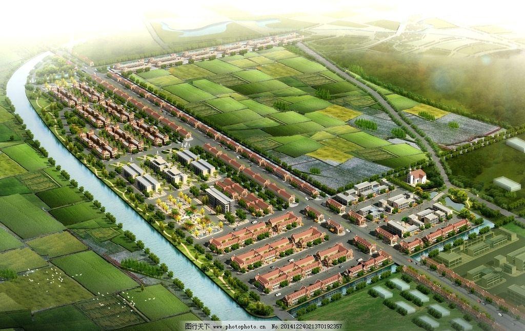 新农村规划 3d效果图 人树 车 河道 行道树 天空        设计 3d设计