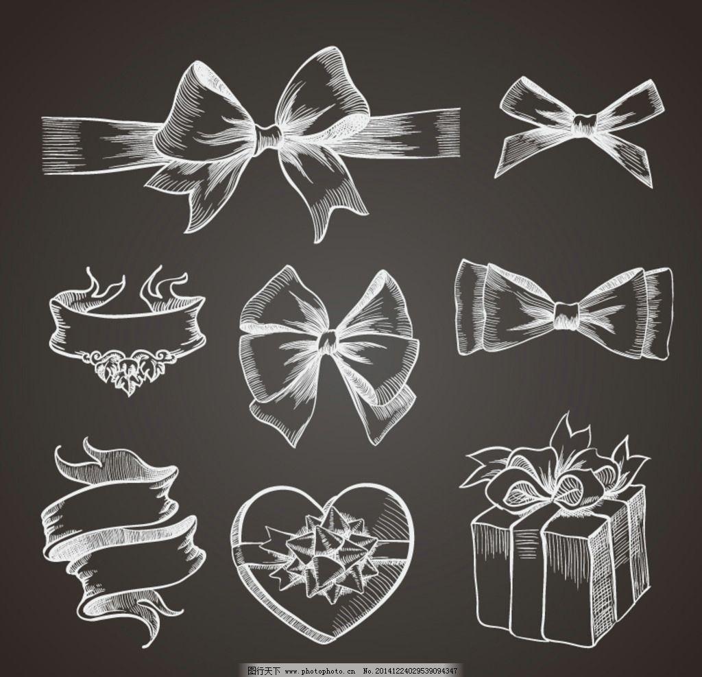 手绘 黑白 丝带 礼盒 蝴蝶结 设计 广告设计 广告设计 eps