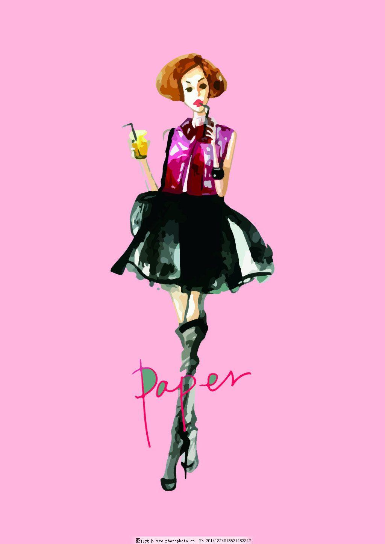 女连衣裙 时装画 女装时装画        服装设计 服装设计图