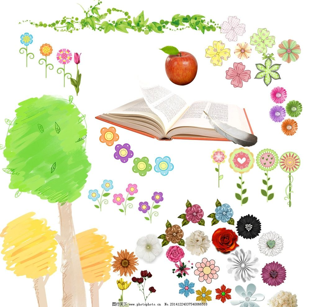 卡通花朵 树叶图片
