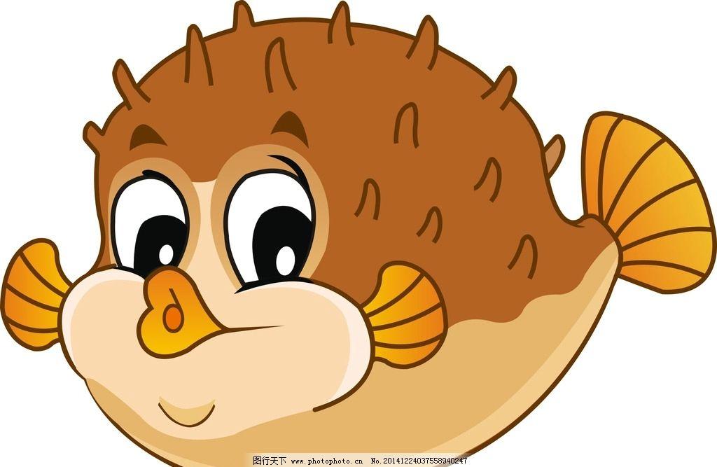 海洋主题 河豚 卡通版 圆圆的 可爱的  设计 动漫动画 其他  cdr