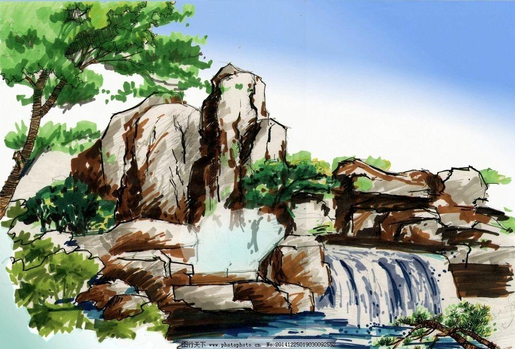 园林小品手绘图片