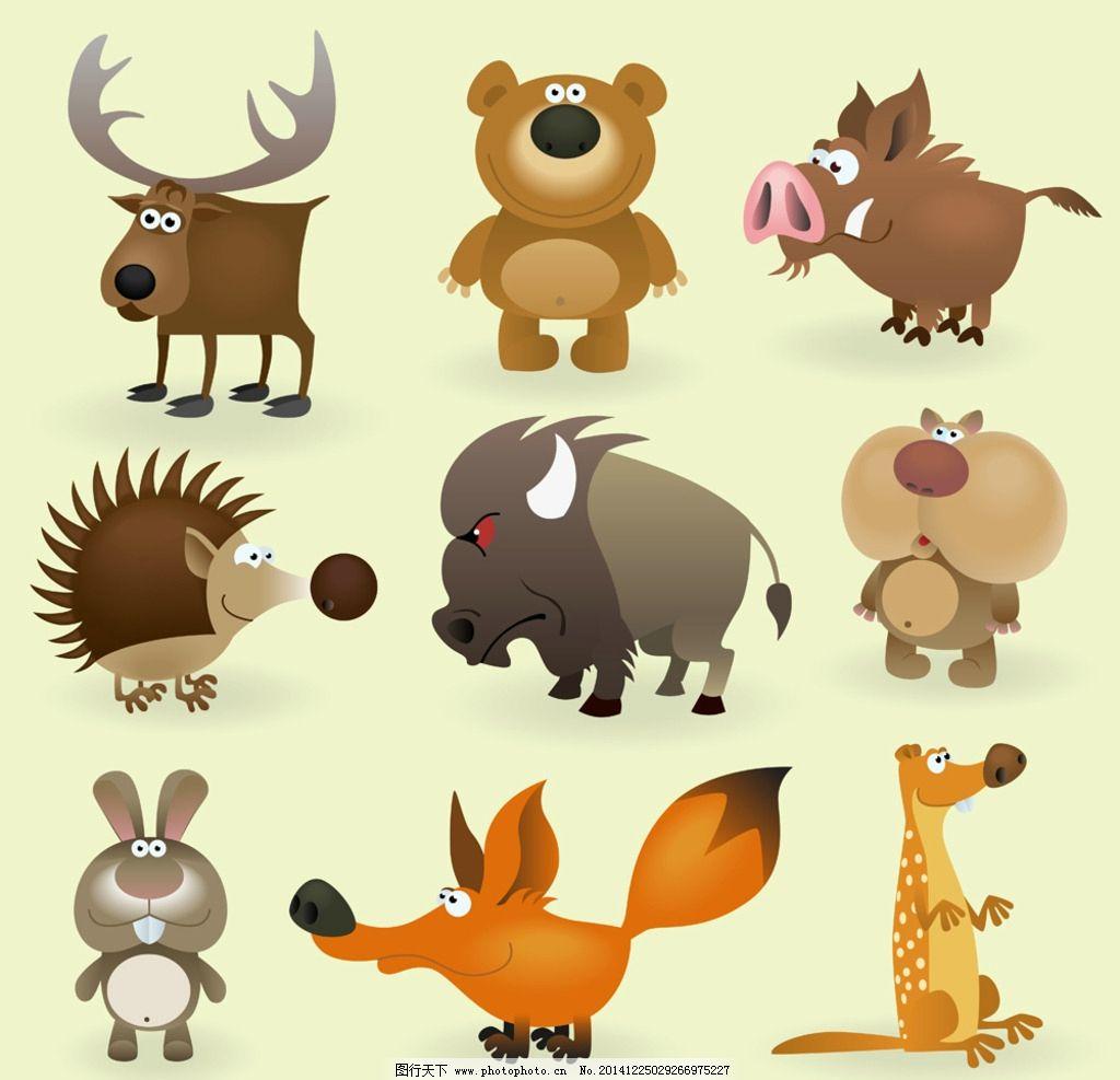 动物 插画 熊 狐狸 兔子