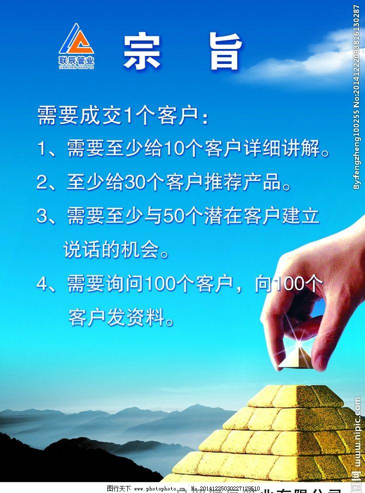 宗旨 企业文化 企业启示 金字塔 蓝色背景 蓝色展板 设计 广告设计 展