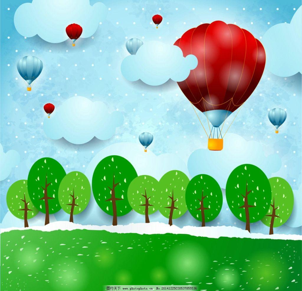 缤纷热气球标贴画图片