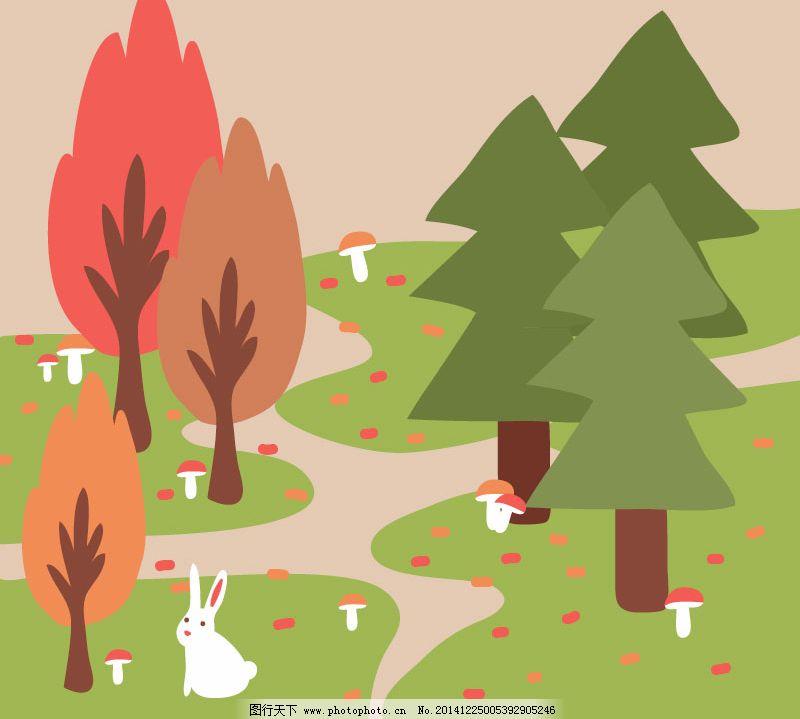 森林卡通背景矢量素材