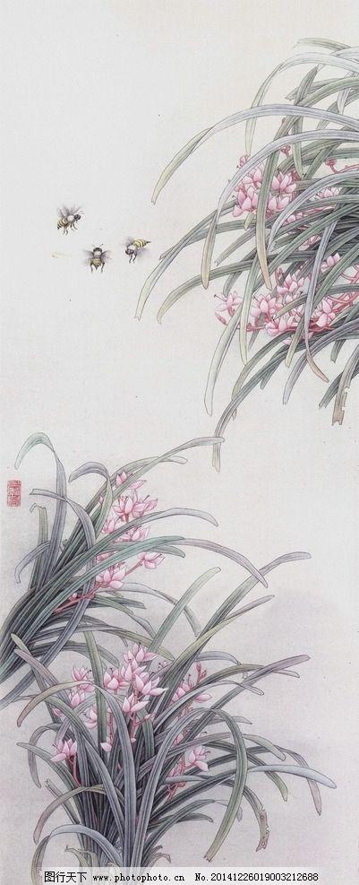 兰花工笔画图片_绘画书法